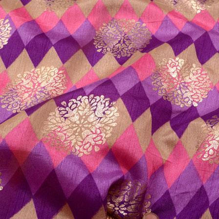 Purple-Blue and Golden Flower Shape Brocade Silk Fabric-5425
