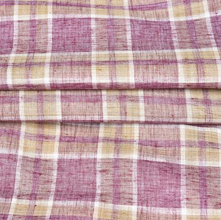 Purple Brown Checks Handloom Cotton Fabric-42497