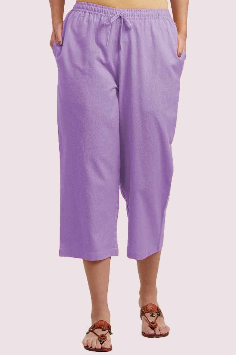 Purple Cotton Solid Women Culottes-33862