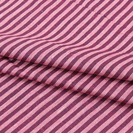 Cotton Shirt (2.25 Meter)-Purple Cream Striped Handloom Khadi-140724
