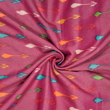 Purple Cyan and Yellow Ikat Cotton Flex Fabric-28184