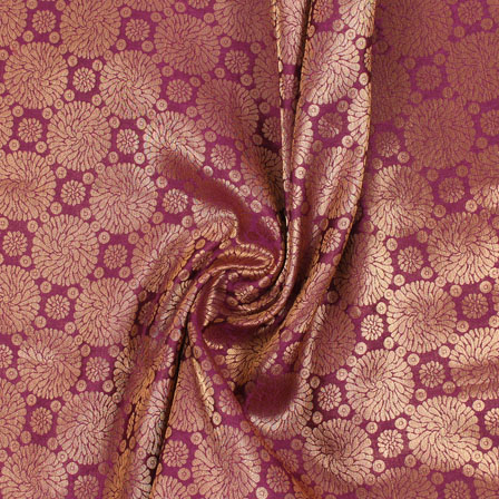 Purple Golden Brocade Silk Fabric-8977