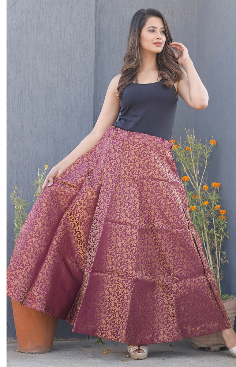 Purple Golden Brocade silk Lehenga-34214-(Free Size)