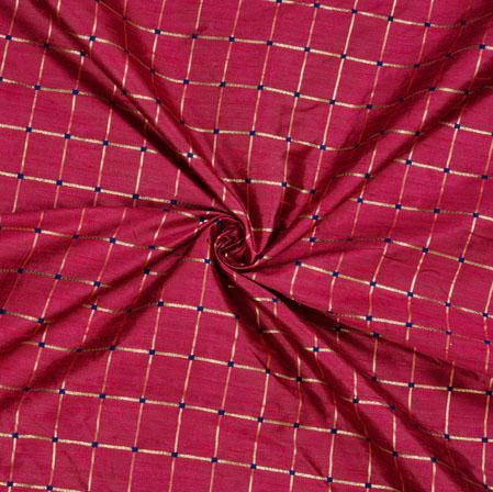 Purple Golden Checks Zari Taffeta Silk Fabric-12656