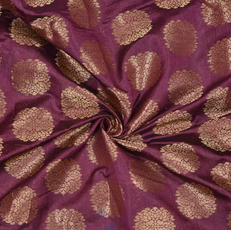 Purple Golden Circle Brocade Chanderi Silk Fabric-12861
