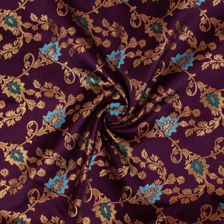 Purple Golden Floral Brocade Silk Fabric-9301
