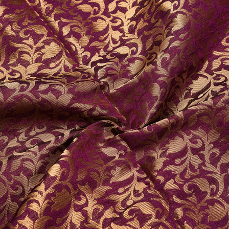 Purple Golden Floral Chanderi Zari Silk Fabric-12244