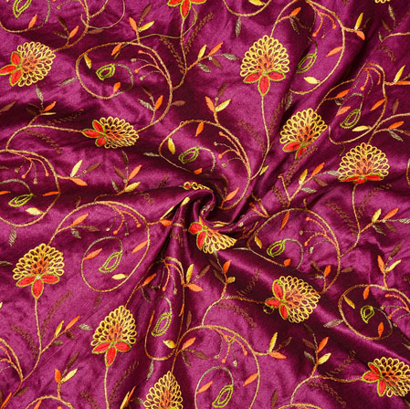 Purple Golden Floral Embroidery Silk Fabric-18987