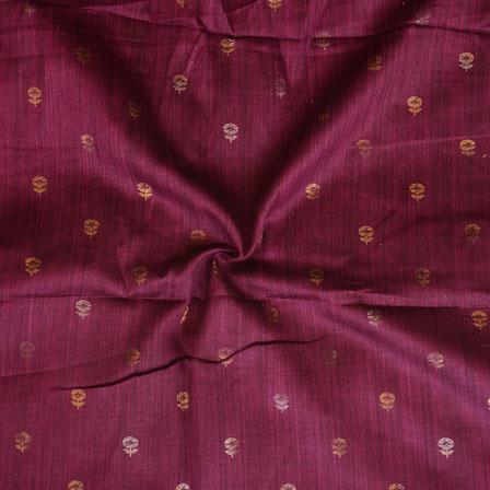 Purple Golden Floral Print Jam Cotton Fabric-15215