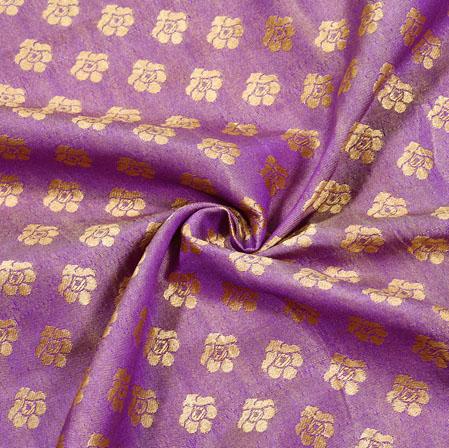 Purple Golden Paisley Brocade Silk Fabric-12531