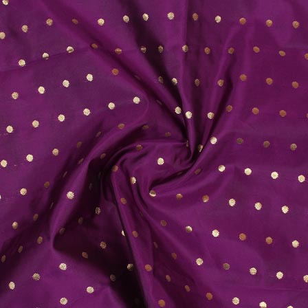 Purple Golden Polka Brocade Silk Fabric-9355