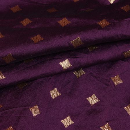 Purple Golden Star Brocade Silk Fabric-9236