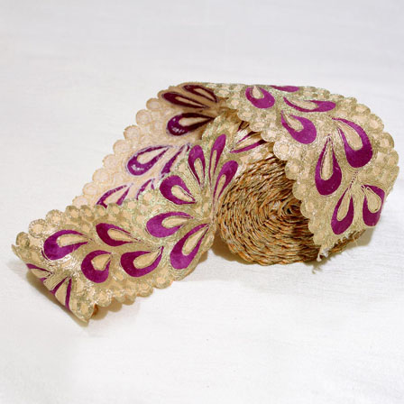 9 MTR Roll of Purple-Golden and Beige Flowerr Pattern Embroidery Ribbon-4036