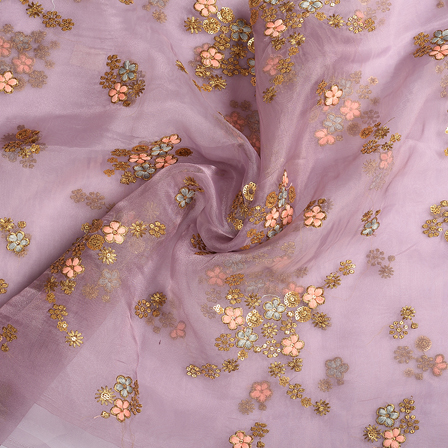 Purple-Golden and Peach Flower Organza Embroidery Fabric-51167
