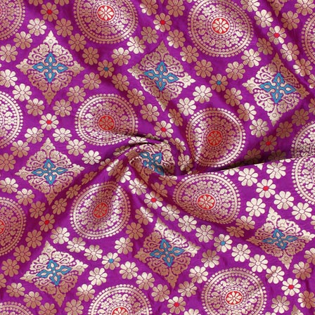 Purple Golden and Red Floral Banarasi Silk Fabric-9269