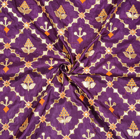 Purple Golden and Red Floral Embrodiery Silk Fabric-18922