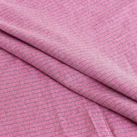 Purple Gray Stripe Handloom Cotton Fabric-40924