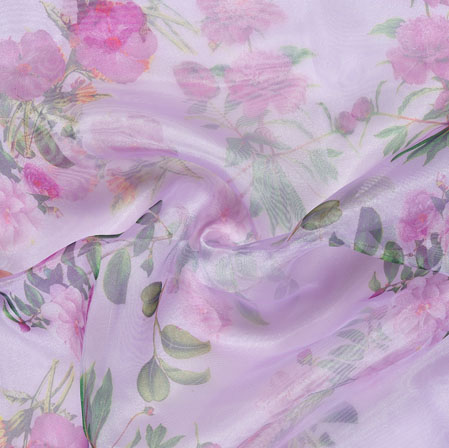 Purple Green Floral Organza Silk Fabric-22100