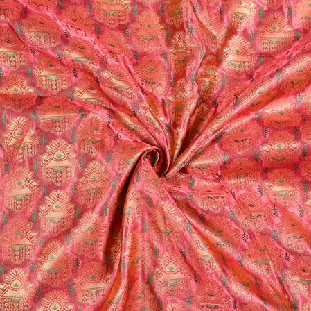 Purple Green Floral Panel Brocade Fabric-12924