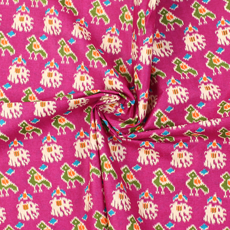 Purple-Green and Cream Elephant Design Kalamkari Cotton Fabric-10013