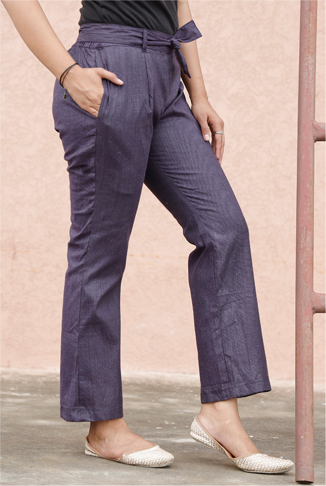 Purple Handloom Cotton Texture Narrow Pant with Belt-33918