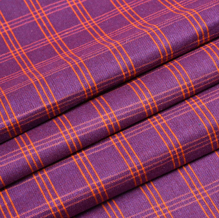 Purple Orange Check Handloom Cotton Fabric-40874