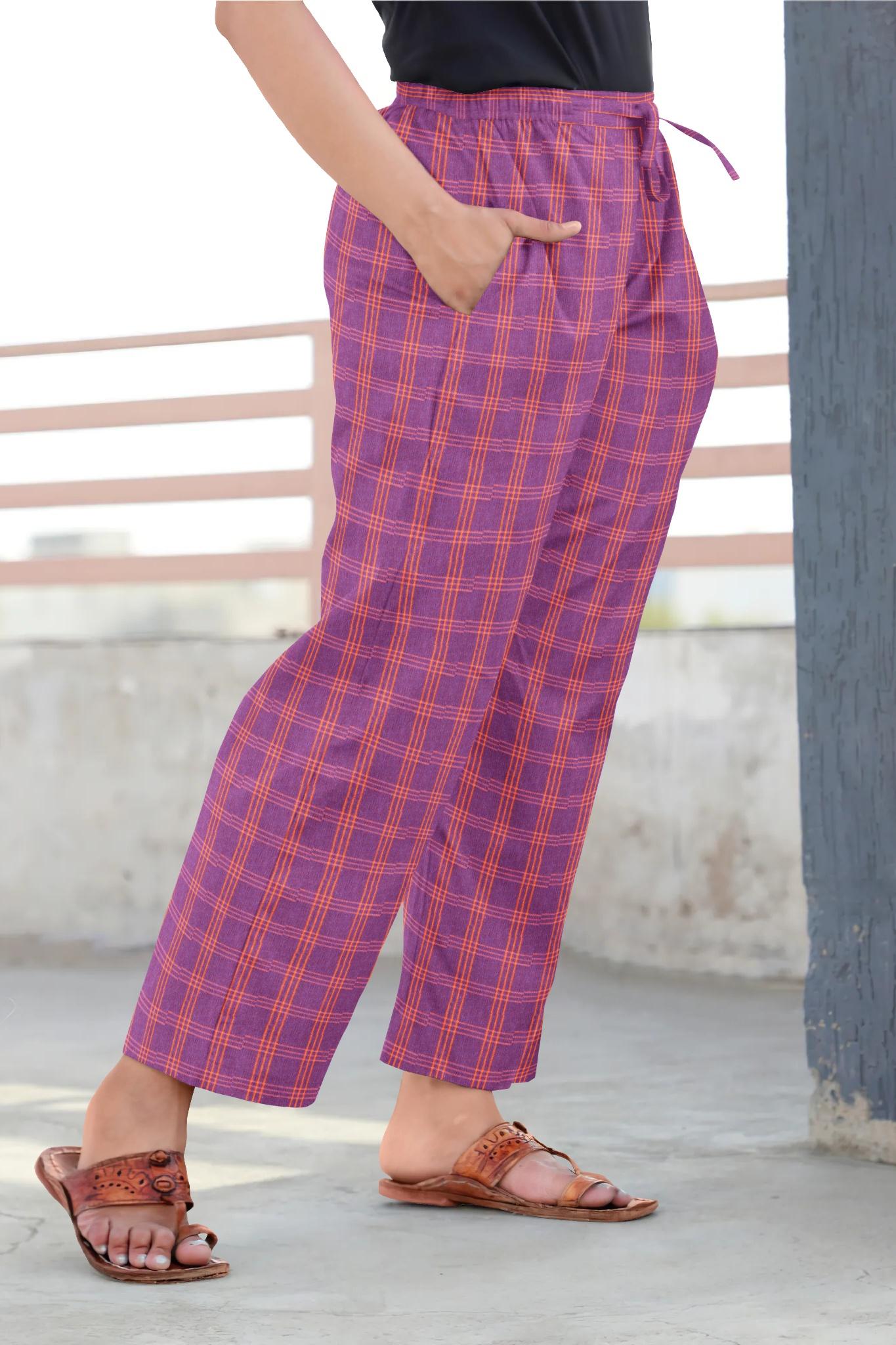 Purple Orange Cotton Regular Check Pant-35305