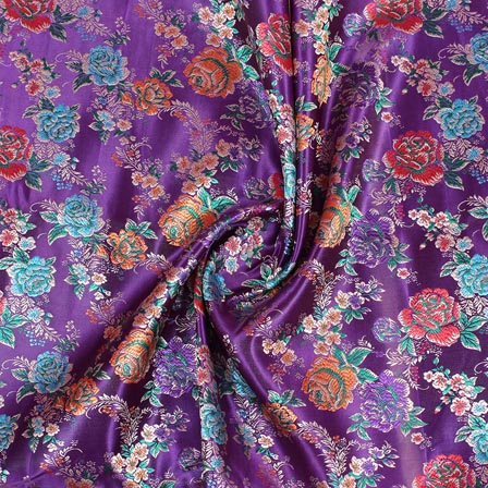 Purple Orange and Green Floral Digital Banarasi Silk Fabric-9194