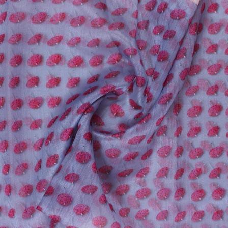 Purple Pink Digital Organza Silk Fabric-51650