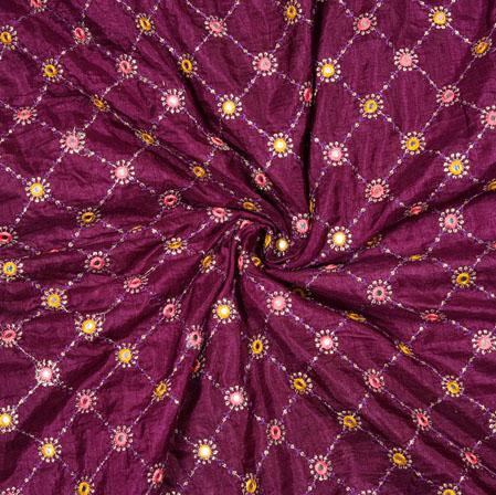 Purple Pink Square Mirror Dola Embroidery Silk Fabric-19193