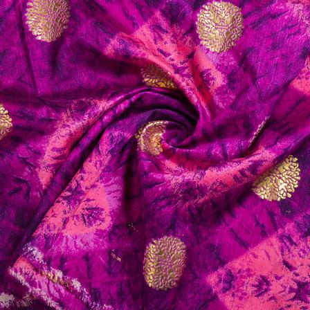 Purple-Pink and Golden Floral Kota Doria Fabric-25120