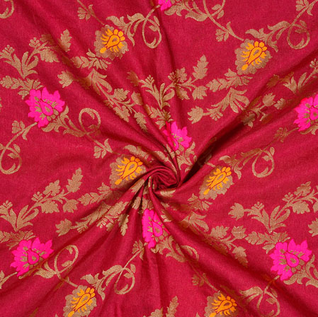 Purple Pink and Golden Floral Satin Brocade Silk Fabric-12692