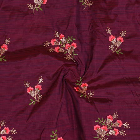 Purple Pink and Golden Jalbari Embroidery Silk Fabric-61045