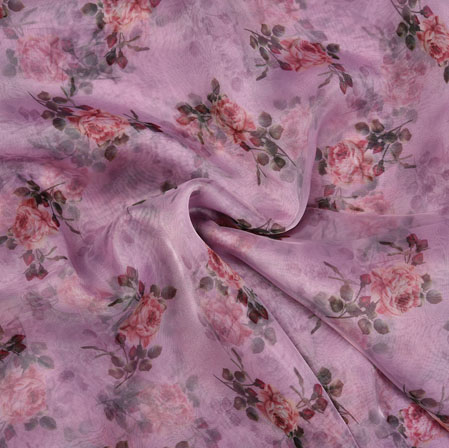 Purple Pink and Green Floral Organza Silk Fabric-22128