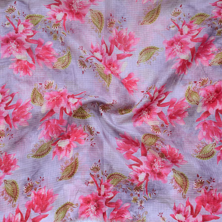 Purple Pink and Green Flower Kota Doria Fabric-25132