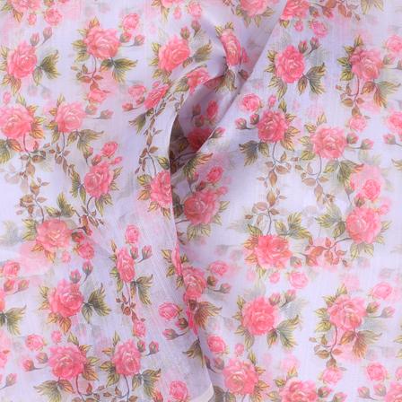 Purple-Pink and Green Flower Organza Digital Print Fabric-51396