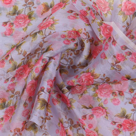 Purple-Pink and Green Flower Organza Digital Print Fabric-51406