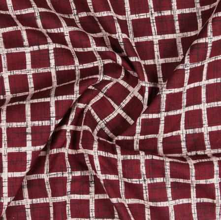 Purple Red Block Print Cotton Fabric-16123