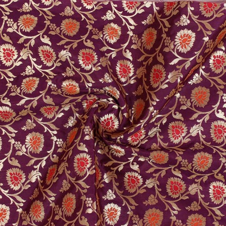Purple Red and Golden Floral Banarasi Silk Fabric-9261