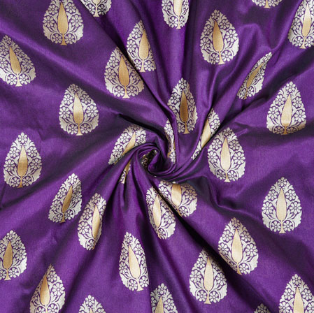 Purple Silver Brocade Silk Leaf Fabric-12967