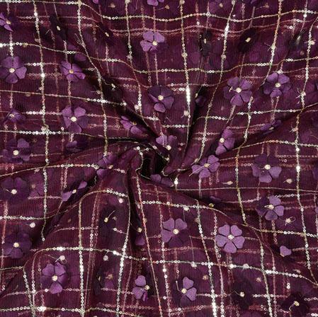 Purple Silver Floral Net Applique Fabric-19248
