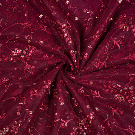 Purple Silver Floral Net Embroidery Fabric-19279