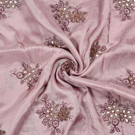Purple Silver Flower Sequin Handwork Upada Embroidery Silk Fabric-19210
