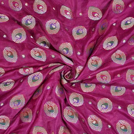 Purple Silver Leaf Brocade Silk Fabric-12951