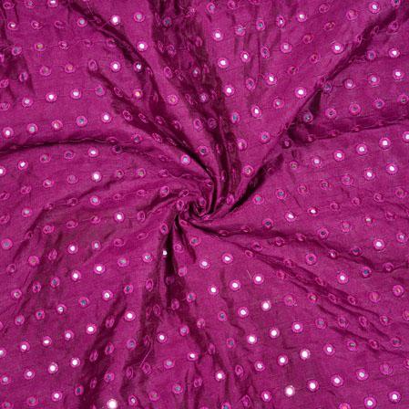 Purple Silver Polka Georgette Embroidery Silk Fabric-18950