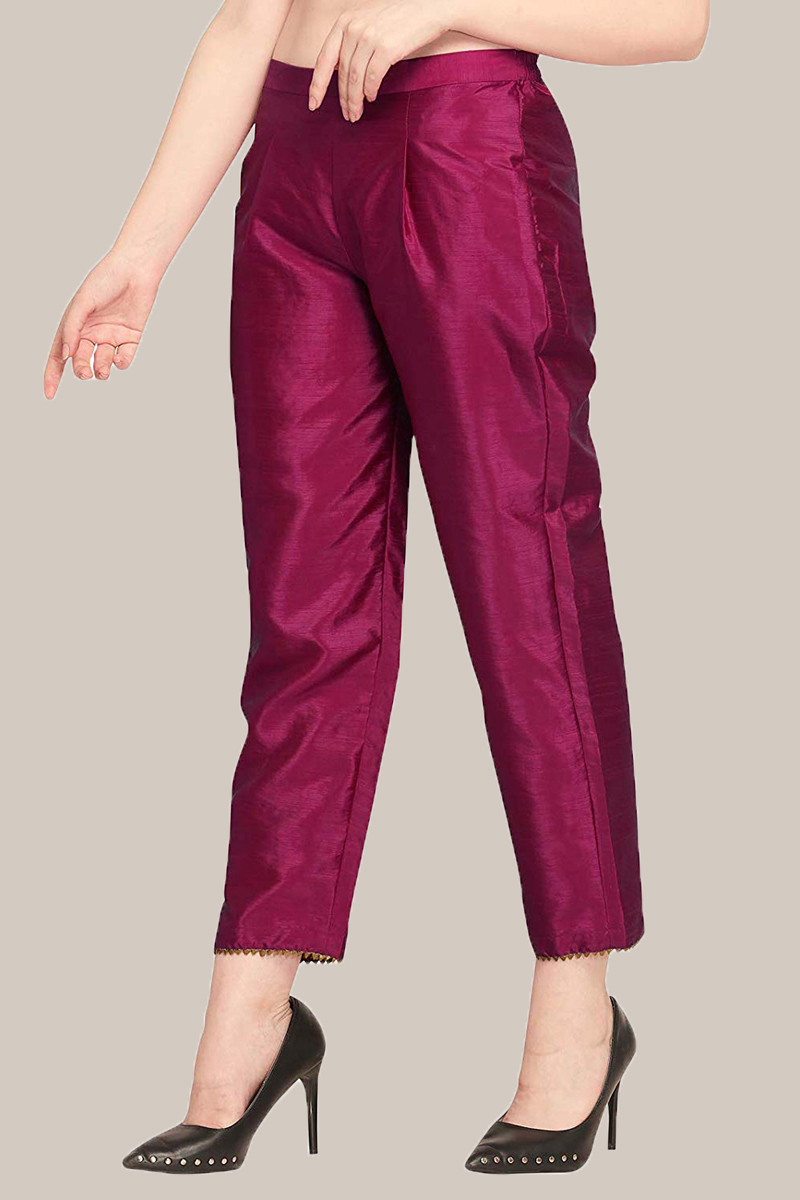 Purple Taffeta Silk Ankle Length Pant-33959