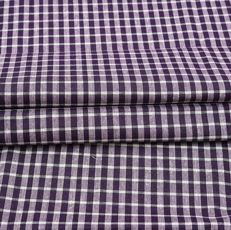 Purple White Checks Cotton Handloom Fabric-42209
