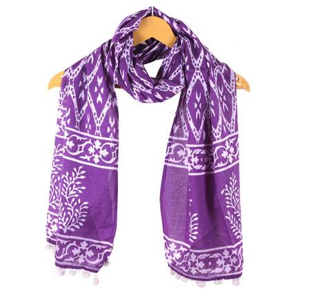 Purple White Floral Cotton Block Print Dupatta With Pom Pom-33126