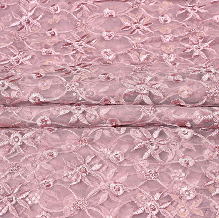 Purple White Floral Net Embroidery Fabric-19252