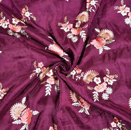 Purple White Floral Upada Embroidery Silk Fabric-19060